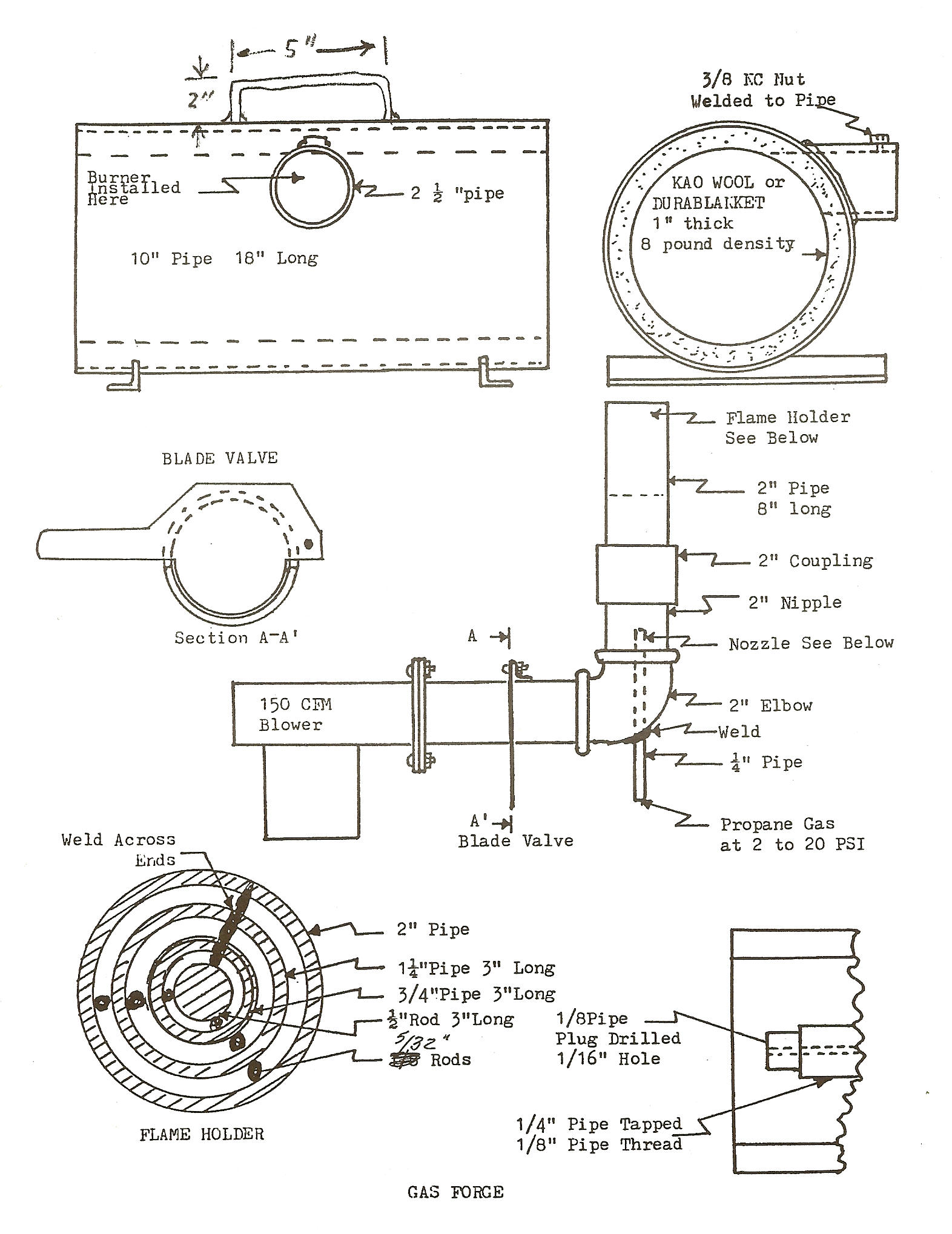 gas forge plans for the original page onethe drawings - Homemade Propane Forge Design